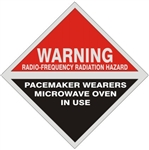 Warning Radio Frequency Radiation Hazard Pacemaker Wearers Microwave In Use Sign, 9 X 9 Aluminum