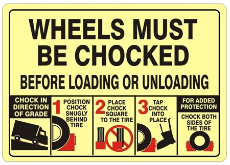 CHOCK YOUR WHEELS Sign - Available 10 X 14, Self Adhesive Vinyl, Plastic or Aluminum.