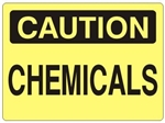 CAUTION CHEMICALS Sign - Choose 7 X 10 - 10 X 14, Self Adhesive Vinyl, Plastic or Aluminum.