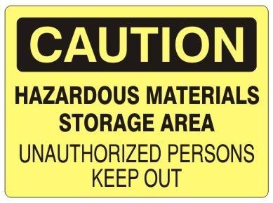 """OSHA Safety SIGN 10/"""" x 14/"""" WARNING chemical storage area"""