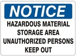 Notice Hazardous Material Storage Area Unauthorized Persons Keep Out Sign - Choose 7 X 10 - 10 X 14, Self Adhesive Vinyl, Plastic or Aluminum.