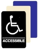 HANDICAP ACCESSIBLE ADA Sign 6 X 9 Available in Blue, Black and Taupe