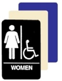 Wheelchair Accessible WOMEN's Restroom Sign - 6 X 9 Available in Blue, Black and Taupe