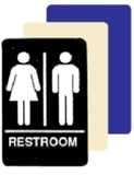 WOMEN and MEN ADA RESTROOM Sign - 6 X 9 Available in Blue, Black and Taupe