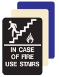 ADA, IN CASE OF FIRE USE STAIRS Sign - 6 X 9 Available in Blue, Black and Taupe