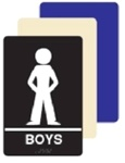 ADA Boys Restroom Sign - 6 X 9 Available in Blue, Black and Taupe