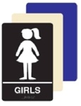 ADA Girls Restroom Sign - 6 X 9 Available in Blue, Black and Taupe