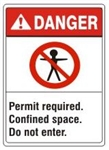 Danger Confined Space Do Not Enter Permit Required Sign, ANSI Z535 - Choose 7 X 10 - 10 X 14, Pressure Sensitive Vinyl, Plastic or Aluminum.