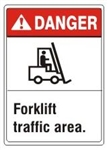 DANGER Forklift traffic area, ANSI Z535 Safety Sign