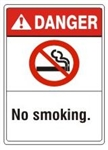 DANGER No smoking, ANSI Z535 Safety Sign - Choose 7 X 10 - 10 X 14, Pressure Sensitive Vinyl, Plastic or Aluminum