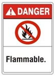 DANGER Flammable. ANSI Z535 Safety Sign - Choose 7 X 10 - 10 X 14, Pressure Sensitive Vinyl, Plastic or Aluminum