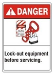 DANGER Lock-out equipment before servicing, ANSI Z535 Safety Sign - Choose 7 X 10 - 10 X 14, Pressure Sensitive Vinyl, Plastic or Aluminum