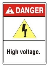 DANGER High Voltage. ANSI Z535 Safety Sign - Choose 7 X 10 - 10 X 14, Pressure Sensitive Vinyl, Plastic or Aluminum