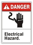 DANGER Electrical Hazard Signs. ANSI Z535 Safety Sign - Choose 7 X 10 - 10 X 14, Pressure Sensitive Vinyl, Plastic or Aluminum