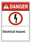 DANGER Electrical hazard. ANSI Z535 Safety Sign - Choose 7 X 10 - 10 X 14, Pressure Sensitive Vinyl, Plastic or Aluminum