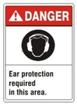 DANGER Ear protection required in this area. ANSI Z535 Safety Sign - Choose 7 X 10 - 10 X 14, Pressure Sensitive Vinyl, Plastic or Aluminum