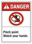 DANGER Pinch point. Watch your hands. ANSI Z535 Safety Sign - Choose 7 X 10 - 10 X 14, Pressure Sensitive Vinyl, Plastic or Aluminum