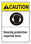CAUTION Hearing protection required here. ANSI Z535 Safety Sign - Choose 7 X 10 - 10 X 14, Pressure Sensitive Vinyl, Plastic or Aluminum