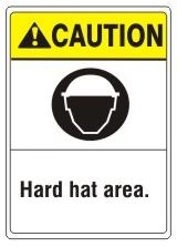 CAUTION Hard hat area. ANSI Z535 Safety Sign - Choose 7 X 10 - 10 X 14, Pressure Sensitive Vinyl, Plastic or Aluminum