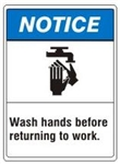 NOTICE Wash hands before returning to work. ANSI Z535 Safety Sign - Choose 7 X 10 - 10 X 14, Pressure Sensitive Vinyl, Plastic or Aluminum