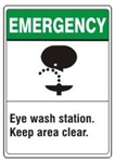EMERGENCY Eye wash station. Keep area clear. ANSI Z535 Safety Sign - Choose 7 X 10 - 10 X 14, Pressure Sensitive Vinyl, Plastic or Aluminum