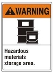 WARNING Hazardous materials storage area. ANSI Z535 Safety Sign - Choose 7 X 10 - 10 X 14, Pressure Sensitive Vinyl, Plastic or Aluminum
