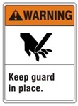 WARNING Keep guard in place. ANSI Z535 Safety Sign - Choose 7 X 10 - 10 X 14, Pressure Sensitive Vinyl, Plastic or Aluminum