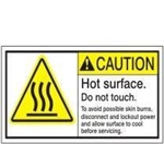 CAUTION Hot surface Do Not Touch Labels. To avoid possible skin burn disconnect and lockout power and allow surface to cool before servicing. ANSI Equipment Labels, Choose from 3 Sizes