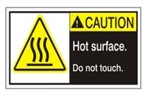CAUTION Hot surface Do Not Touch. ANSI Equipment Safety Labels, Choose from 3 Sizes