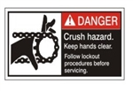 DANGER Crush Hazard. Keep hands clear. Follow lockout procedures before servicing. ANSI Equipment Safety Labels, Choose from 3 Sizes