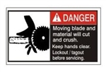 DANGER Moving blade and material will cut and crush. Keep hands clear. Follow lockout procedures before servicing. ANSI Equipment Safety Label, Choose from 3 Sizes