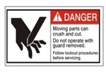 DANGER Moving parts can crush and cut. Do not operate with guard removed. Follow lockout procedures before servicing. ANSI Equipment Safety Label, Choose from 3 Sizes