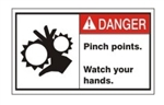 DANGER Pinch Points. Watch your hands. ANSI Equipment Safety Labels, Choose from 3 Sizes