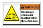 WARNING Hazardous chemicals located within this enclosure. ANSI Equipment Safety Labels, Choose from 3 Sizes