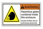 WARNING Hazardous gases contained inside this enclosure. Access limited only to authorized personnel. ANSI Safety Label, Choose from 3 Sizes