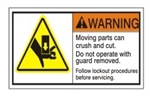 WARNING Moving parts can crush and cut. Do not operate with guard removed. Follow lockout procedures before servicing. ANSI Equipment Safety Label, Choose from 3 Sizes