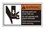 WARNING Moving parts can crush and cut. Do not operate with guard removed. Follow lockout procedures before servicing. ANSI Equipment Safety Labels, Choose from 3 Sizes