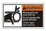 WARNING Moving parts can crush and cut. Do not operate with guard removed. Follow lockout/tagout before servicing. ANSI Equipment Safety Label, Choose from 3 Sizes