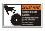 WARNING Rotating blade hazard. Do not operate with guard removed. Follow lockout/tagout before servicing. ANSI Equipment Safety Label, Choose from 3 Sizes