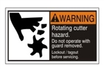 WARNING Rotating cutter hazard. Do not operate with guard removed. Follow lockout/tagout before servicing. ANSI Equipment Safety Label, Choose from 3 Sizes
