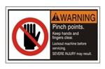WARNING Pinch points. keep hands and fingers clear. Lockout machine before servicing. SEVERE INJURY may result. ANSI Equipment Safety Labels, Choose from 3 Sizes
