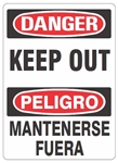 DANGER/PELIGRO KEEP OUT, Bilingual Sign - Choose 10 X 14 - 14 X 20, Self Adhesive Vinyl, Plastic or Aluminum.