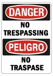 DANGER/PELIGRO NO TRESPASSING, Bilingual Sign - Choose 10 X 14 - 14 X 20, Self Adhesive Vinyl, Plastic or Aluminum.