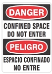 DANGER/PELIGRO CONFINED SPACE DO NOT ENTER, Bilingual Sign - Choose 10 X 14 - 14 X 20, Self Adhesive Vinyl, Plastic or Aluminum.