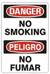 DANGER/PELIGRO NO SMOKING, Bilingual Sign - Choose 10 X 14 - 14 X 20, Self Adhesive Vinyl, Plastic or Aluminum.