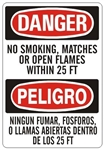 DANGER/PELIGRO NO SMOKING, MATCHES OR OPEN FLAMES WITHIN 25 FT, Bilingual Sign - Choose 10 X 14 - 14 X 20, Self Adhesive Vinyl, Plastic or Aluminum.