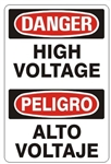 DANGER/PELIGRO HIGH VOLTAGE, Bilingual Sign - Choose 10 X 14 - 14 X 20, Self Adhesive Vinyl, Plastic or Aluminum.