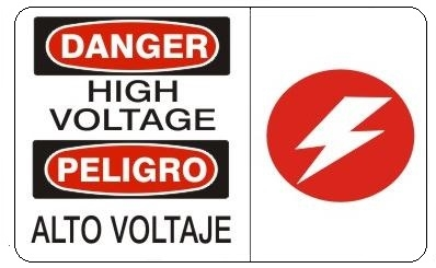 DANGER/PELIGRO HIGH VOLTAGE SYMBOL, Bilingual Sign - Choose 10 X 14 - 14 X 20, Self Adhesive Vinyl, Plastic or Aluminum.