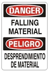 DANGER/PELIGRO FALLING MATERIAL, Bilingual Sign - Choose 10 X 14 - 14 X 20, Self Adhesive Vinyl, Plastic or Aluminum.