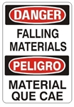 DANGER/PELIGRO FALLING MATERIALS, Bilingual Sign - Choose 10 X 14 - 14 X 20, Self Adhesive Vinyl, Plastic or Aluminum.